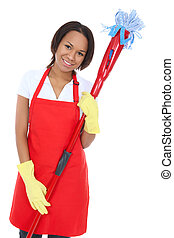 Pretty Maid Holding Mop - A pretty woman maid cleaner...