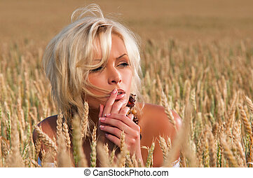 woman in a wheat field