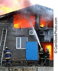 bomberos, Extinguir, fuego