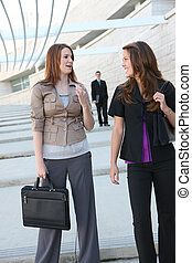 Business Women Team - Pretty young business womean walking...