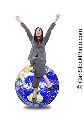 Woman on Top Of World - A pretty asian woman on top of the...