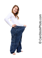 Woman Weight Loss - A pretty woman showing how much weight...