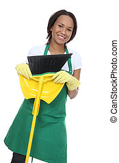 Pretty Maid Holding Broom - A pretty woman maid cleaner...