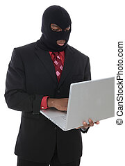 Computer Crime - A conceptual business man computer crime...
