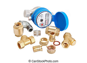 Water meter and inlet valve - Water meter and inlet valve,...
