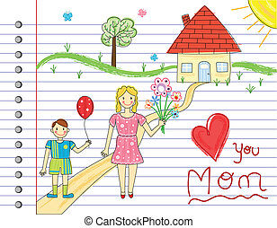 Mother Day card - kids crayon drawings. Over white notebook...