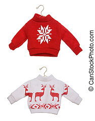 Christmas Sweaters - Two cute Christmas sweaters isolated...