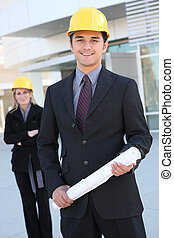 Business Construction Man - An attractive business team...