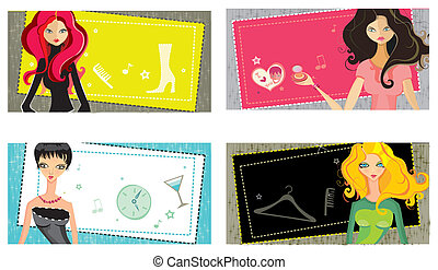 Vector girls cards.