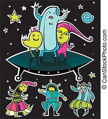 UFO, vector aliens