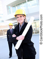 Business Construction Woman - An attractive business team...