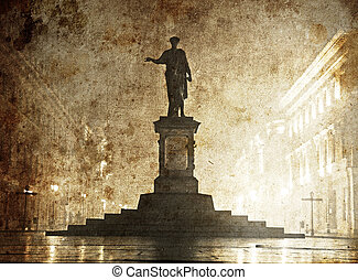 Duc de Richelieu statue in Ukraine, Odessa. Photo in old...