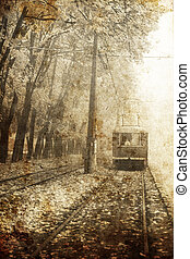 Tramway near autumn alley in Odessa, Ukraine Photo in old...