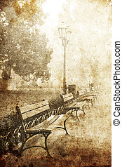 Fog at alley in Odessa, Ukraine. Photo in old vintage style....