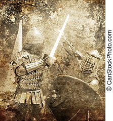 Knight fight. Photo in old image style.