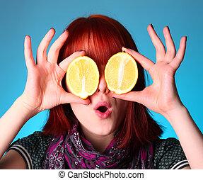 Girl keep lemon instead of eyes