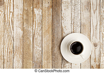 coffee cup on grunge table - espresso coffee in a white...