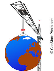 Capacity - Tower crane lifts the globe