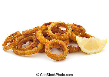 Fried Onion Rings Over White - Pile of fried onion rings...