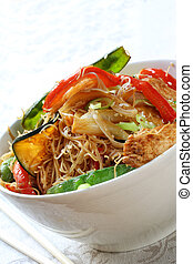 Stir-fry - Chicken, vegetable and noodle stir-fry, in white...