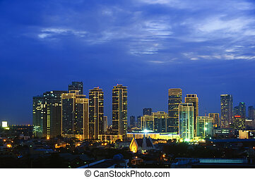 Makati Skyline - Night shot of skyline of Makati,...