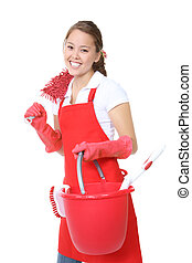 Cute Maid With Cleaning Supplies - A cute maid woman cleaner...