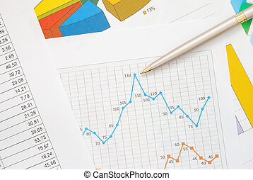 Financial graphs and charts - Financial documents with...