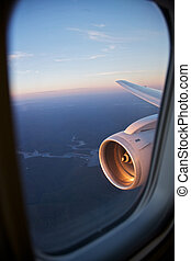 A planes engine, flight and travel - View from airplane...