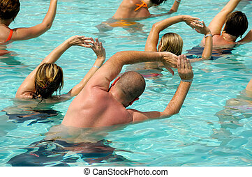 Aerobic in pool - People are doing water aerobic in pool