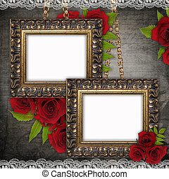 Bronzed vintage frames on old grunge background 1 of set -...