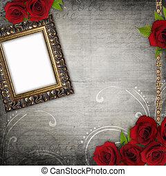 Bronzed vintage frames on old grunge background (1 of set) -...
