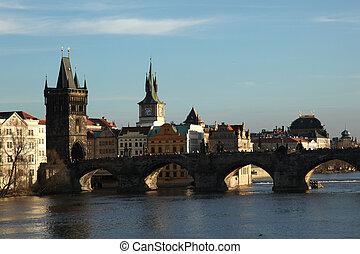 Charles Bridge Prague - view at the Charles Bridge in...