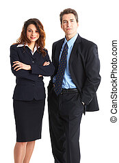 Business people - Young smiling business people. Isolated...