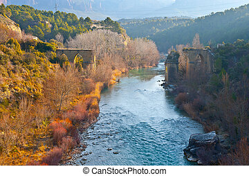 Destroyed Bridge over the River Gallego in the Spanish...