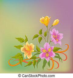 Flower background, alstroemeria on grey