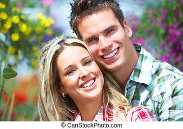Love couple - Young happy smiling couple in love Romance