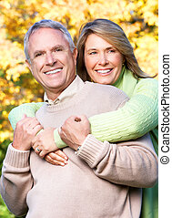 Senior couple - Happy elderly seniors couple in park Love