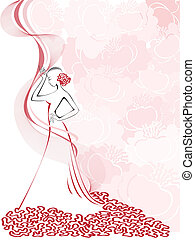 women's silhouette on pink - silhouette of a slender woman...