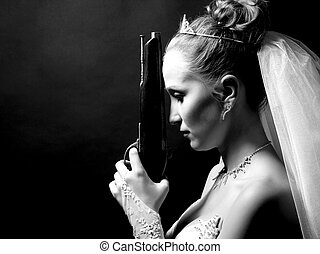 bride holding old gun - beauty young bride in white dress...