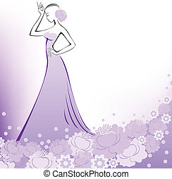 A woman in a lavender dress - woman in a long purple flower...