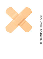 Top view of small band-aid on a white background