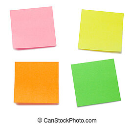 Color post-its on a white background
