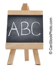 Chalkboard with the leters ABC written on it