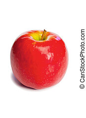Red apple without its leaf on a white background