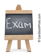 Chalkboard with the word exam written on it