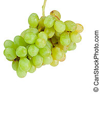 Aloft grapes on a white background