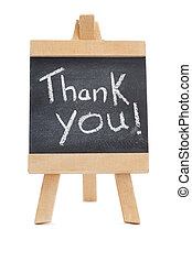 Chalkboard with the words thank you written on it