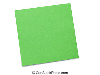 Green post-it on a white background