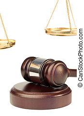 Gavel, dourado, escala, justiça
