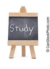 Chalkboard with the word study written on it